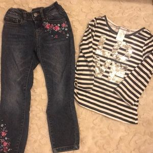 Size 6 Girls Skinny Jeans With Love Sparkle Shirt